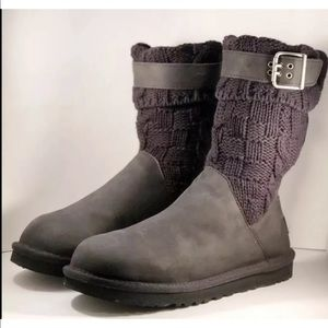 UGG Australia Cassidee Cable Cuff Boots Black 7